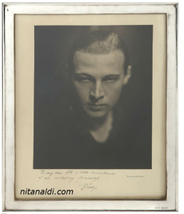 This photo was autographed to Nita by Valentino himself. Nita kept this until the day she died. From a private collection.